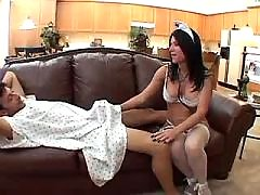 Brunette nurse seduced her patient