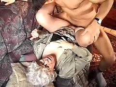 Horny guy drills lustful grandma on sofa