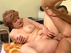 Old fat slut with hairy pussy fucked by guy