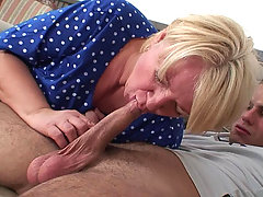 Old babe with a hot mouth sucks him and gets his cock driving hard into her slippery pussy