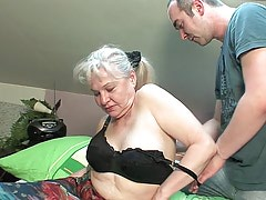 Granny unwilling to take off clothes before a boy
